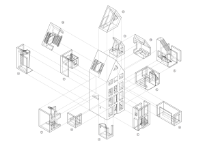 Axonométrie éclatée de la 3D Print Canal House